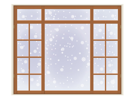 Wooden window with frost and snowflakes. Isolated on white background. Illustration