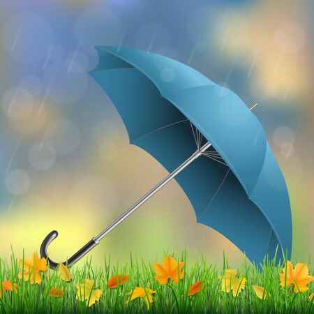 yellow umbrella: Umbrella lying on the grass with fallen leaves in the rain. Illustration