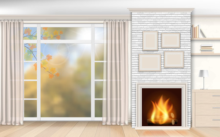 living room interior: Living room interior with fireplace of white brick and autumn scenery outside the window.
