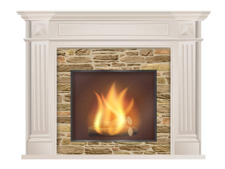 古典的な暖炉: ピラスターと内部生の石の炉。リビング ルームのインテリアの要素。
