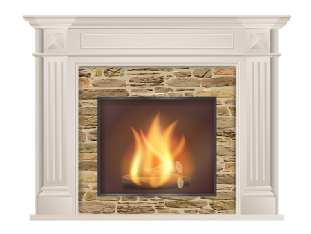 Classic fireplace: with pilasters and a furnace with raw stone inside. The element of the interior living room.