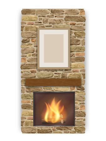 炉の火が付いている暖炉。  イラスト・ベクター素材