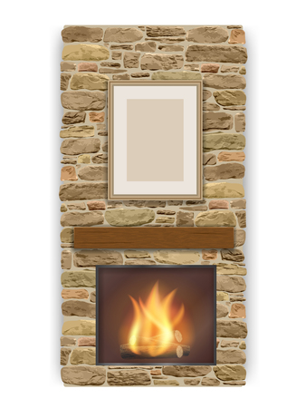 stone wall: Fireplace with a fire in the furnace.