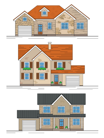 home construction: Set of three different suburban houses. Isolated on a white background, with linear outline.