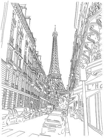 capital cities: View of the Eiffel Tower from the streets of Paris. Black and white hand-drawing in the contours.