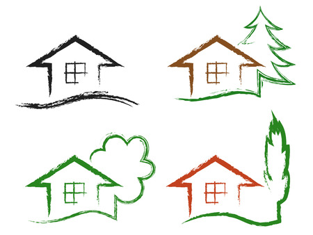 Set of four chalk drawing icons house with tree, isolated on a white background, vector.