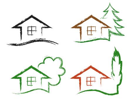 Set van vier krijt tekening iconen huis met boom, geïsoleerd op een witte achtergrond, vector.
