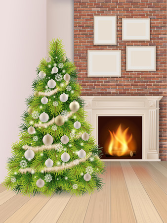 fireplace home: Christmas interior with christmas tree decorated balls and a burning fireplace. Vector illustration.