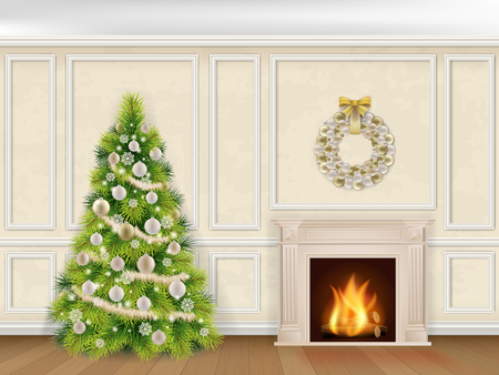 living rooms: Christmas interior in classic style with fireplace and fir tree on wall decorated moulding panels background.