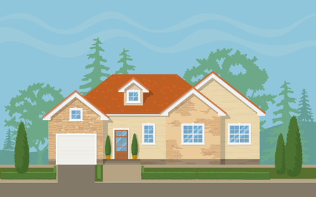 Traditional suburban house with the environment (sky,trees, lawn). Vector flat illustration. Vettoriali