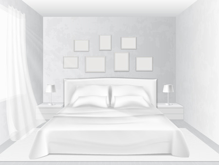 bedroom bed: White bedroom with a bed and pillows, vector illustration