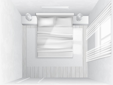 hotel rooms: White bedroom with a bed and pillows, top view, vector illustration.