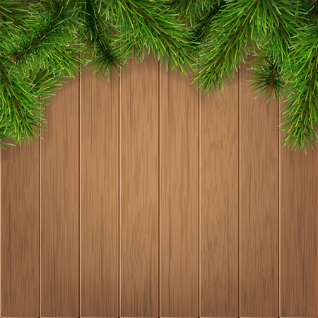 decorative border: Fir branches on wooden boards background. Vector christmas card template.