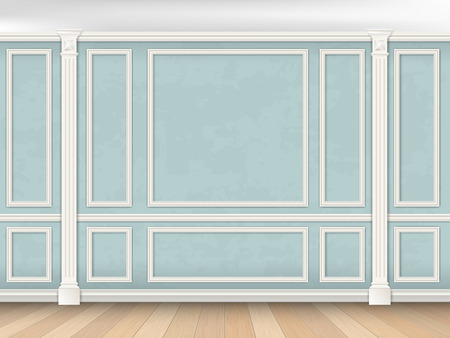 Blue wall interior in classical style with pilasters and moldings. Architectural background.
