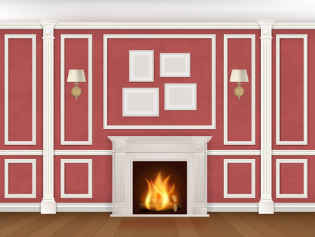 Classic interior wall with fireplace, sconces and pilasters. Vector realistic illustration. Stock Illustratie