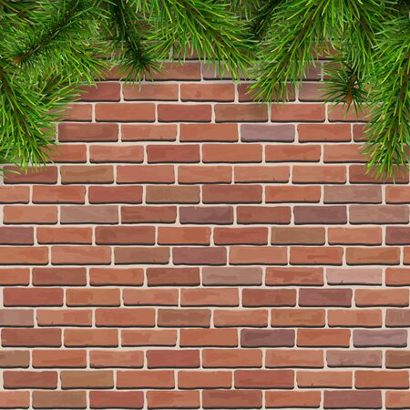 masonry: Christmas background with fir tree branches on a red brick wall, vector illustration.