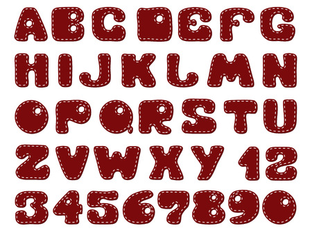 comic background: Funny alphabet for scrapbooking, dark red with a seam of white thread on white background. Illustration
