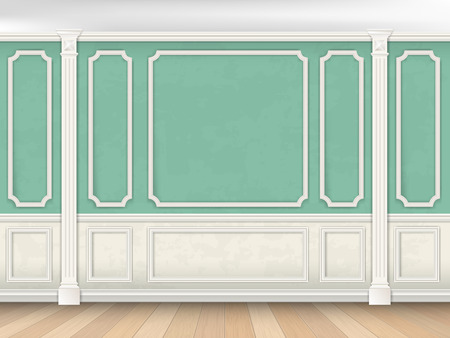 moulding: Green wall interior in classical style with pilasters and moldings. Architectural background.