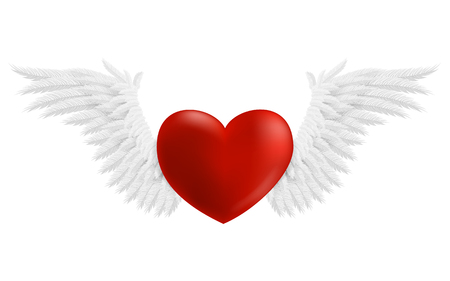 shapes cartoon: Hovering heart with wings, illustration isolated on white background Illustration
