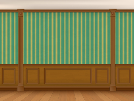 classic house: Fragment of the interior cabinet in a classic style. Wall with green striped wallpaper, wood paneling and pilasters.