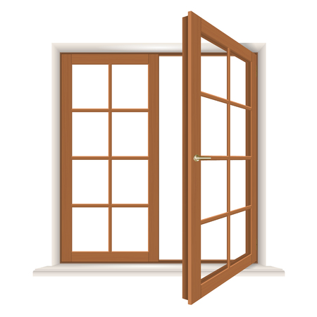 casement: open wooden window isolated, detailed vector illustration