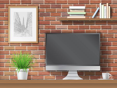 work table: Work table, computer and shelves with books on brick wall background. Workplace in the office or at home.