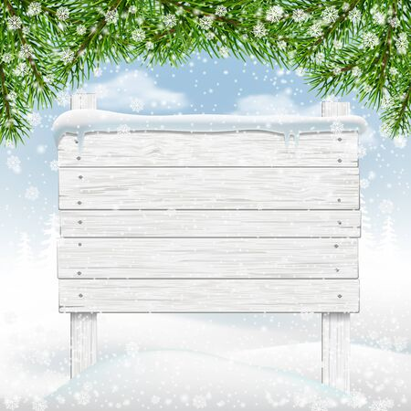 billboard: White winter wooden signboard in snow. Backdrop for messages. Vector Illustration.