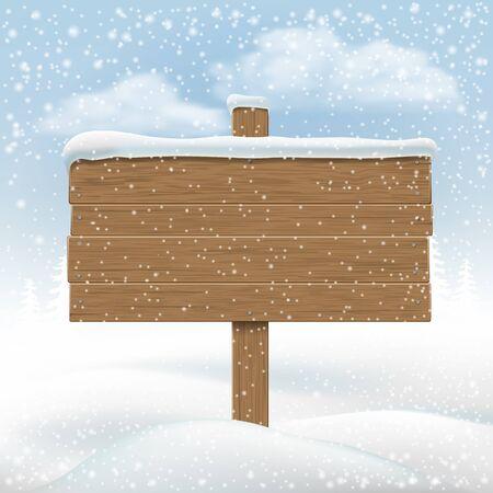 letreros: Señal de madera en el banco de nieve. Telón de fondo para los mensajes. Ilustración del vector.
