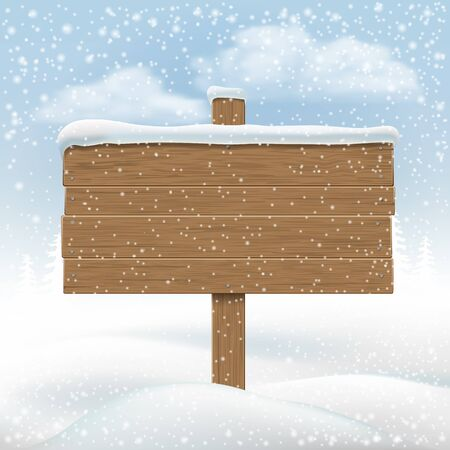 Wooden signboard in snowbank. Backdrop for messages. Vector Illustration.