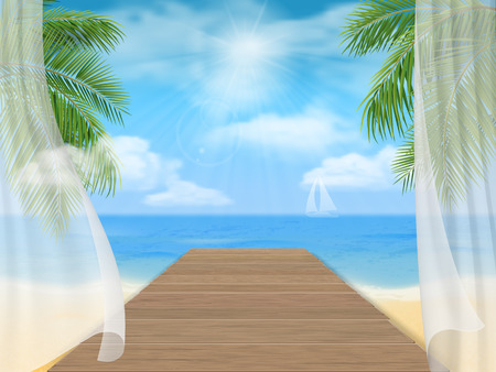Seascape. View of the sea beach and the wooden jetty through the open window with the curtains.