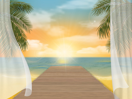 jetty: View of the sea beach on sunset and jetty. Vector travel background. Illustration