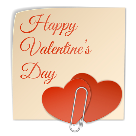 you figure: Two paper heart attached to the sticker with text happy valentines day using the clip.