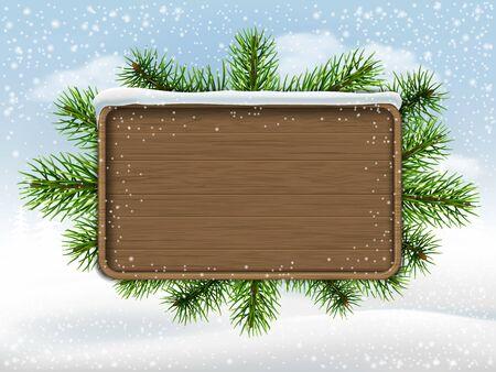 placa bacteriana: signo y ramas de pino de madera en el fundamento paisaje invernal.