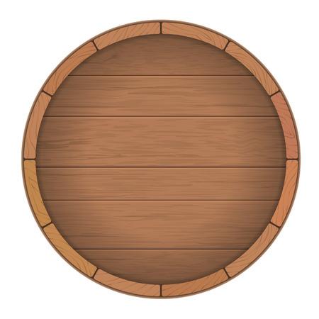 barril de madera redonda para el vino. Señal de madera redonda. Vector ilustración realista.