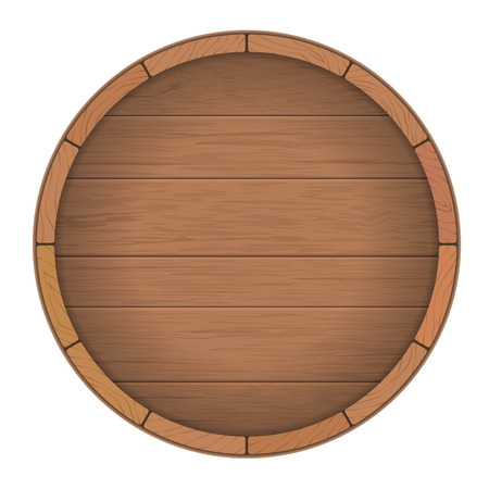 Round wooden barrel for wine. Round wooden signboard. Vector realistic illustration.