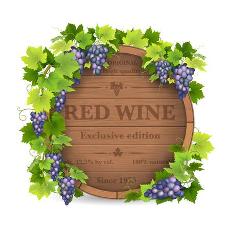 Beczki na wino z winogron i winorośli. Ilustracje wektorowe