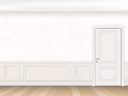 painted wall: Classic interior in white color with door and wall panel. Vector illustration of the interior.