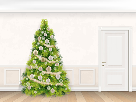 christmas room: Classic interior with christmas tree and door. Vector illustration. Illustration