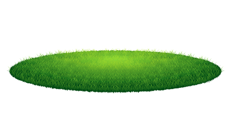 Green grass round arena. Vector illustration, isolated on white background Çizim