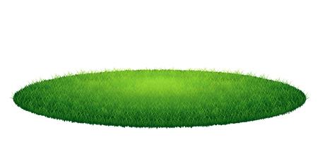 hierba verde campo de ronda. Ilustración vectorial, aislado en el fondo blanco