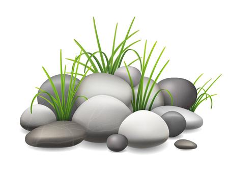 Een stapel stenen en groen gras groeit door de kiezels. vector illustratie Stock Illustratie