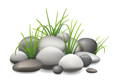 A pile of stones and green grass growing through the pebbles. Vector illustration