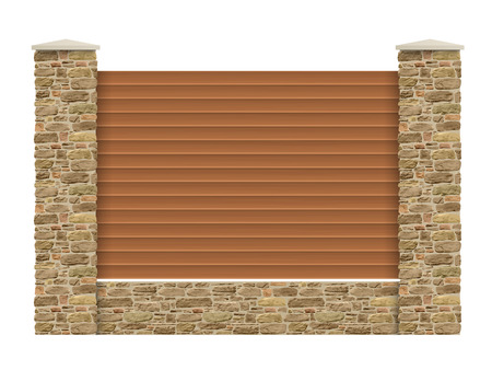 gates: Wooden fence with horizontal planks and  columns of natural stone. Illustration