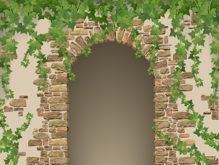 Arch of stones and hanging ivy. Entrance to the cave or cellar wreathed.