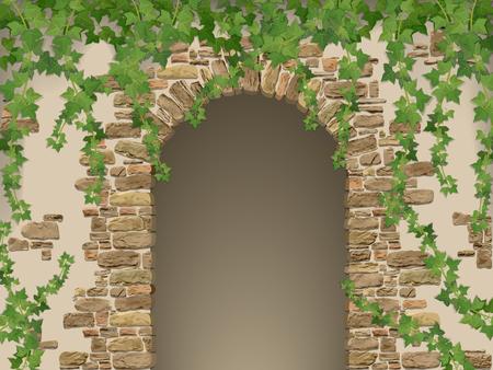 Arco de piedras y la hiedra colgando. La entrada a la cueva o bodega envuelto.