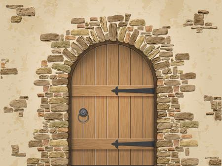 tocar la puerta: Arco de piedra con puerta de madera cerrada. La entrada a la bodega. Vectores