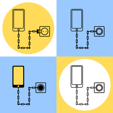 cell charger: Smartphone used chain to connect socket. Concept illustration about of the need to often recharge a smartphone. Illustration