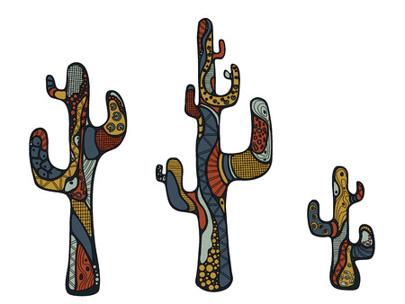 squiggles: Three doodle cactus painted colored squiggles. Vector illustration isolated on white background. Illustration