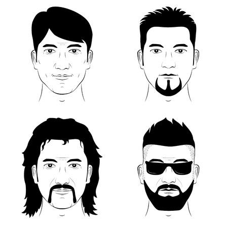Un insieme di disegno umano facce con diverse acconciature baffi e la barba. Vettore uomo ritratto.
