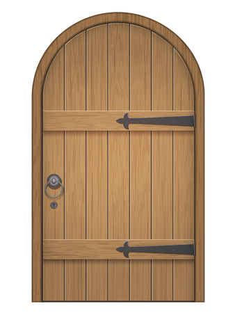 Old wooden arch door. Closed door, made of wooden planks, with iron hinges. Vector isolated illustration.